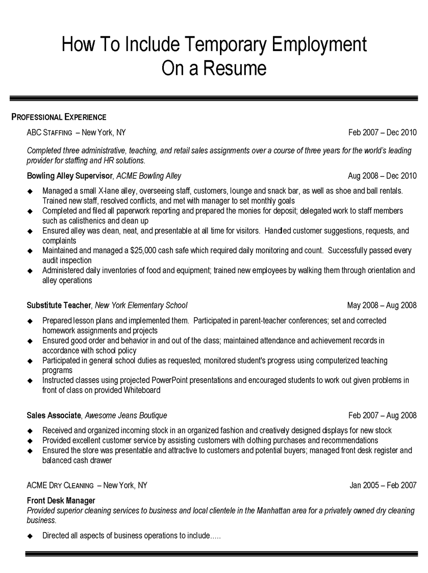 Temp Agency Resume. how to incorporate temporary employment on ...